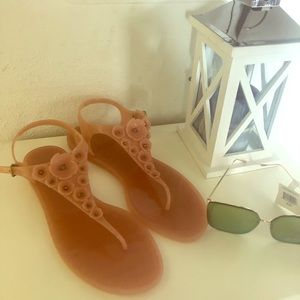 Nude Pink Coach Peony Jelly Sandals